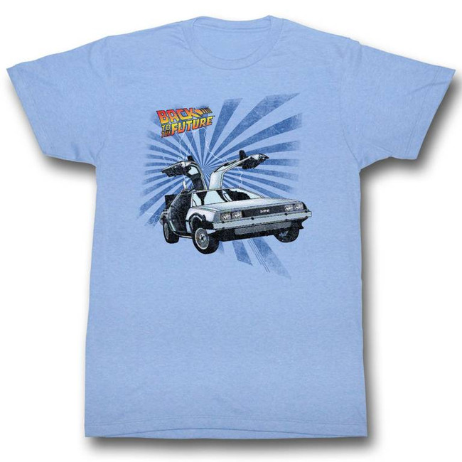 Back to the Future Comical Light Blue Adult T-Shirt