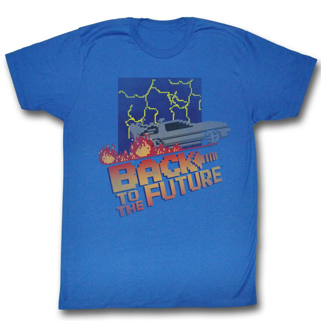 Back to the Future 8-Bit Cover Royal Adult T-Shirt