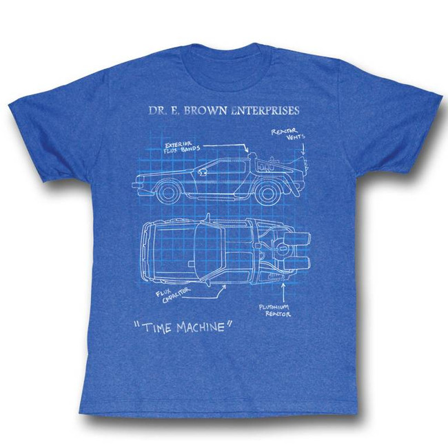 Back to the Future Delorean Schematic Royal Heather Adult T-Shirt