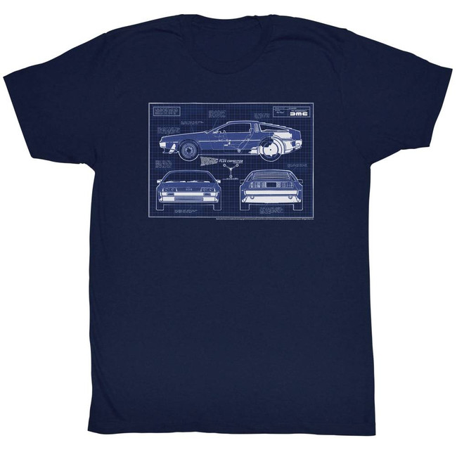 Back to the Future Blueprints Navy Adult T-Shirt