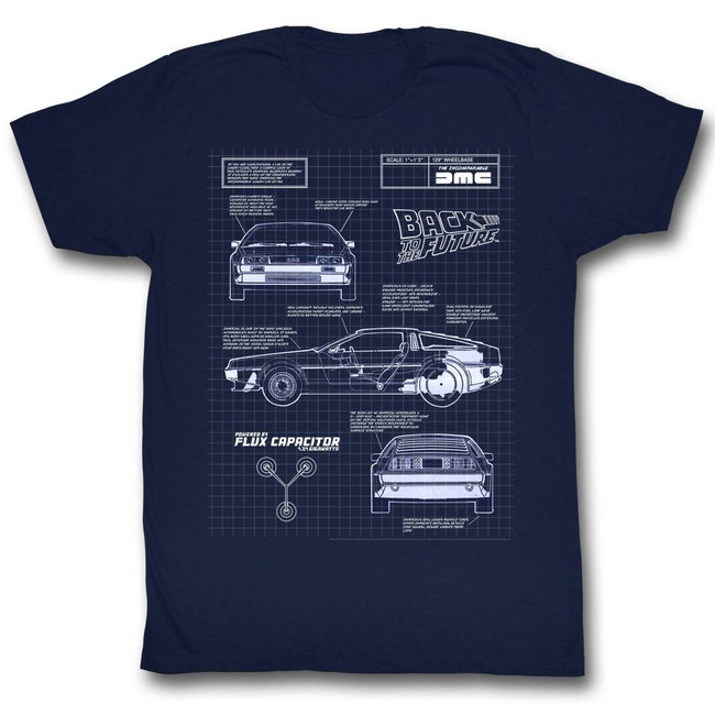 Back to the Future Blueprint Navy Adult T-Shirt