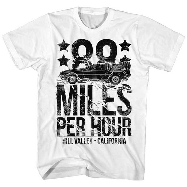 Back to the Future 88' Miles Per Hour White Adult T-Shirt