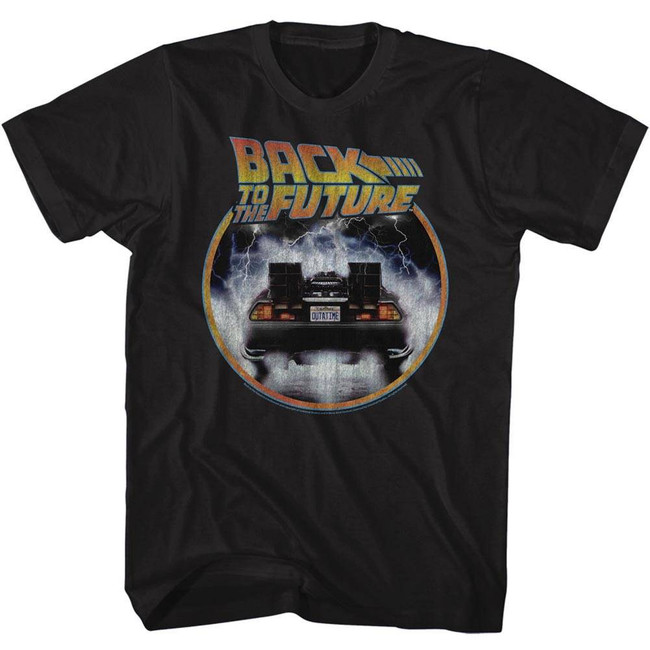 Back to the Future Circle Black Adult T-Shirt