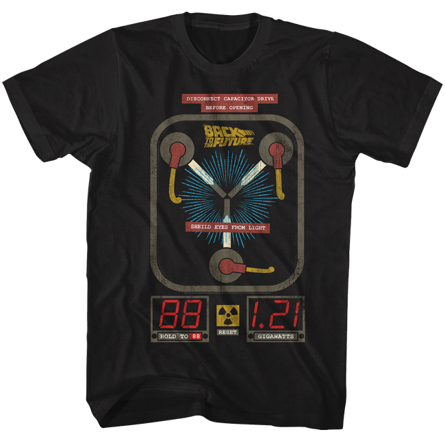 Back to the Future Flux Drive Black Adult T-Shirt