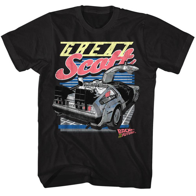 Back to the Future Great Scott Black Adult T-Shirt