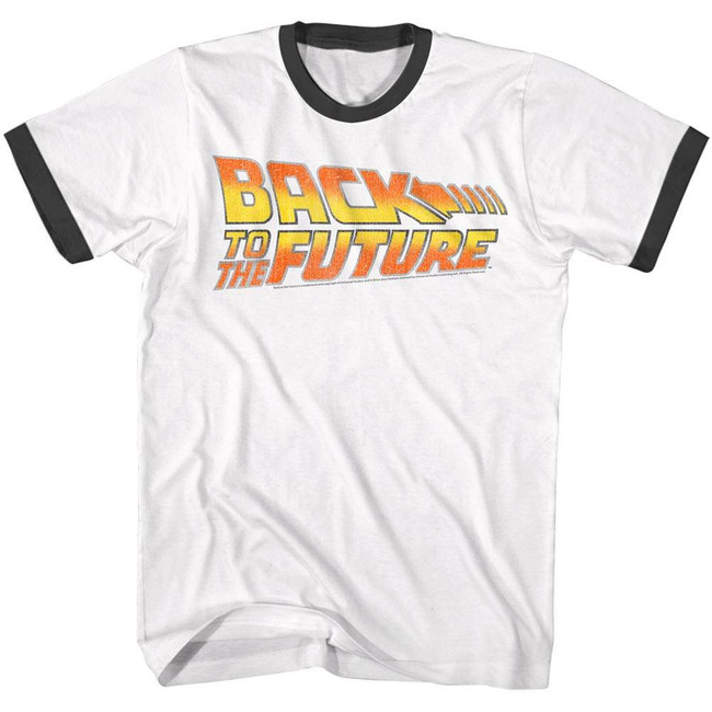 Back to the Future Worn Logo White Adult T-Shirt