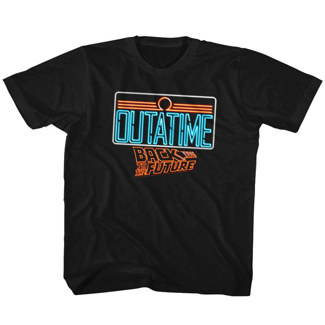 Back to the Future Neon Black Youth T-Shirt