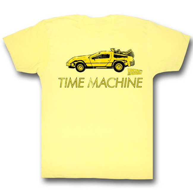 Back to the Future Delorean Yellow Adult T-Shirt