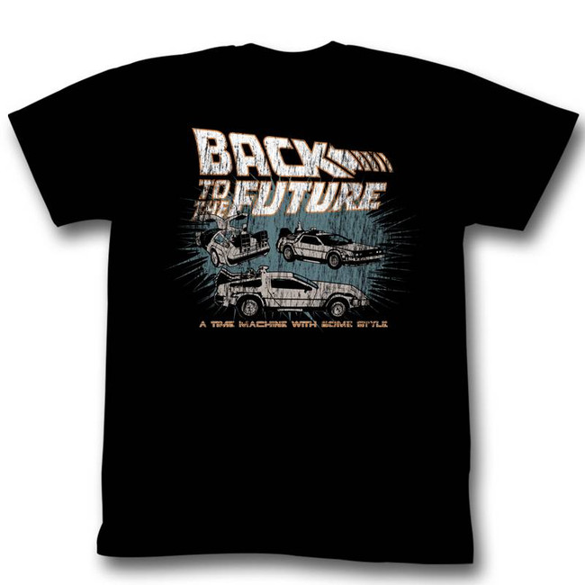 Back to the Future Cars Black Adult T-Shirt