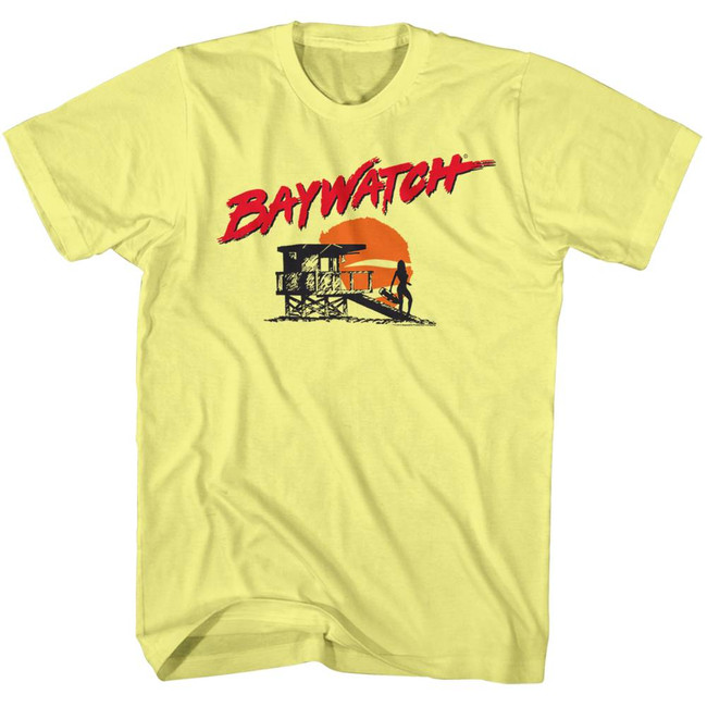 Baywatch Silhouette Yellow Heather Adult T-Shirt