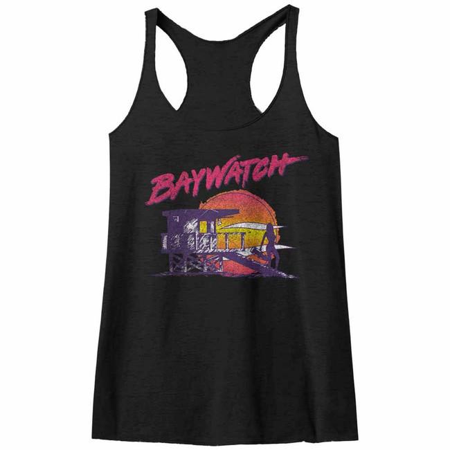 Baywatch Neon Watch Black Junior Women's Racerback Tank Top T-Shirt