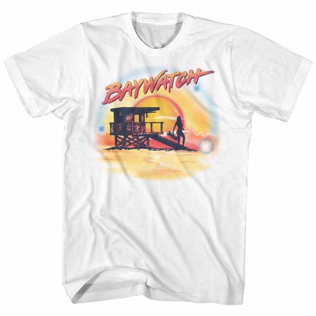 Baywatch Airbrush White Adult T-Shirt