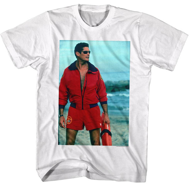 Baywatch On The Beach White Adult T-Shirt