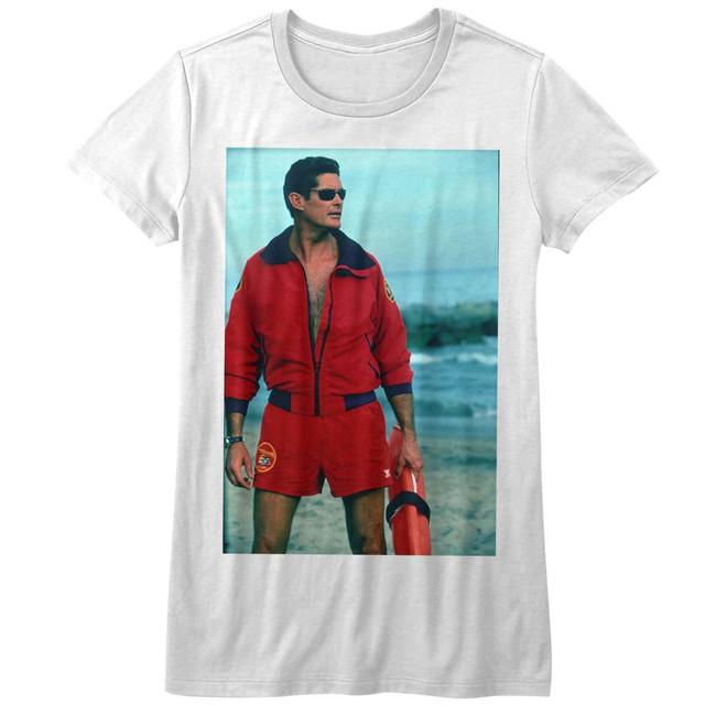 Baywatch On The Beach White Junior Women's T-Shirt