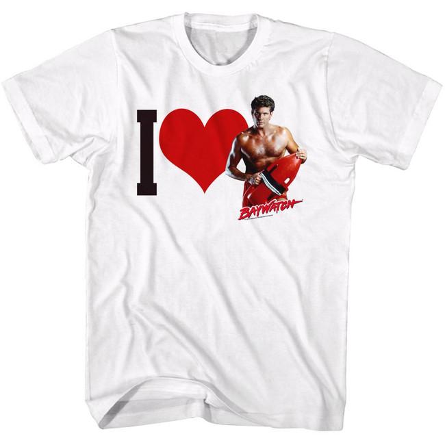Baywatch I Heart Hoff White Adult T-Shirt