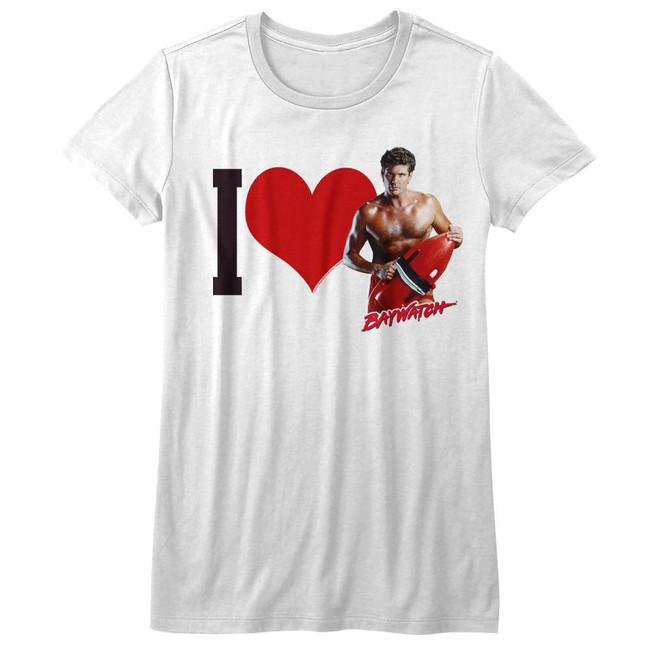 Baywatch I Heart Hoff White Junior Women's T-Shirt