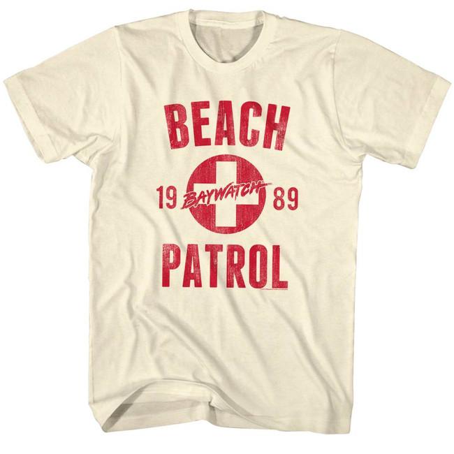 Baywatch Beach Patrol Natural Adult T-Shirt