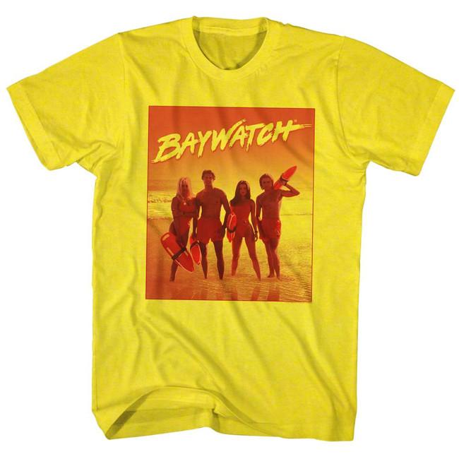 Baywatch Orange Beach Yellow Adult T-Shirt