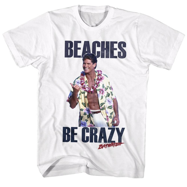 Baywatch Beaches White Adult T-Shirt