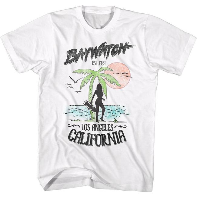Baywatch Beach White Adult T-Shirt