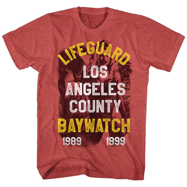 Baywatch Lifeguard Red Heather Adult T-Shirt
