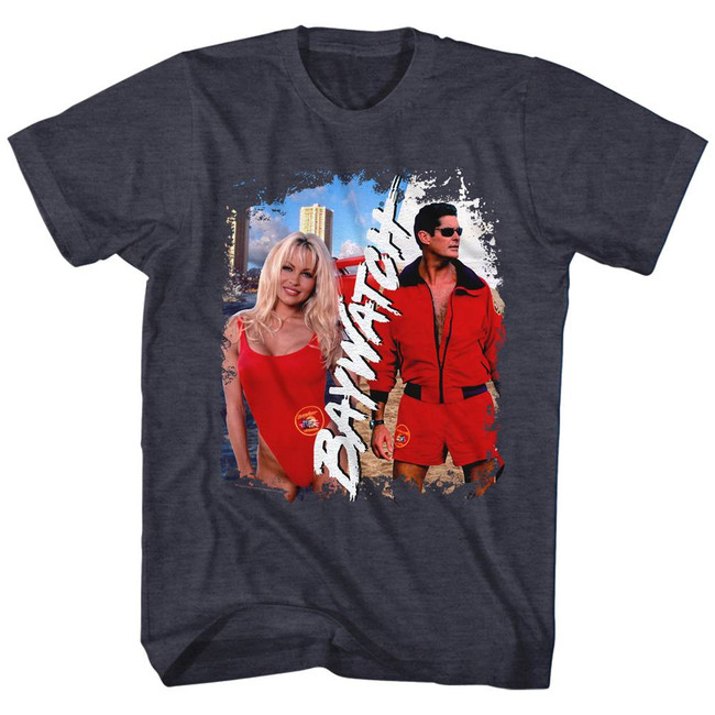 Baywatch Pam And Dave Navy Heather Adult T-Shirt
