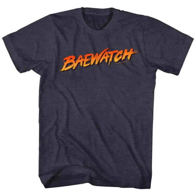 Baywatch Baewatch Logo Navy Heather Adult T-Shirt