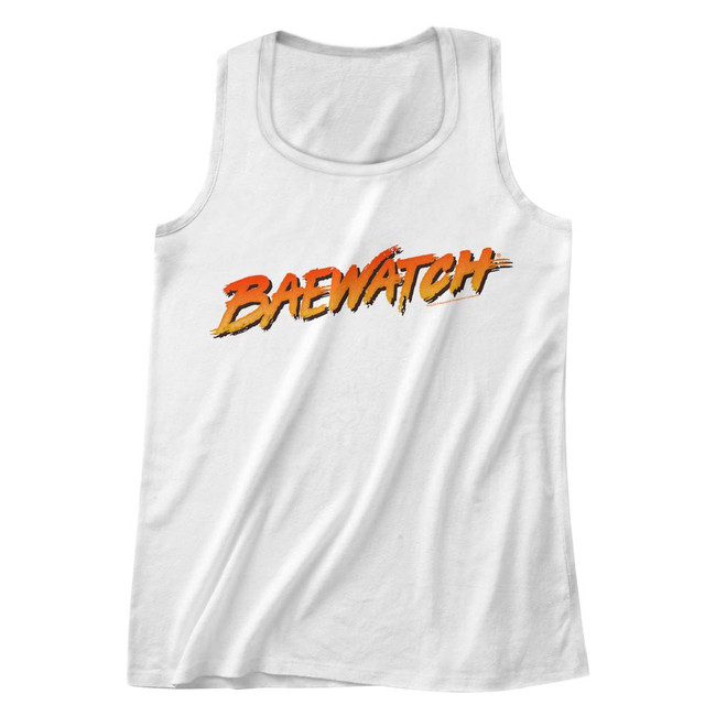 Baywatch Baewatch Logo White Adult Tank Top T-Shirt