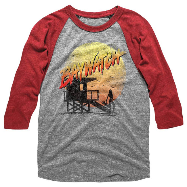 Baywatch Cracked Up Gray/Red Adult Raglan Baseball T-Shirt