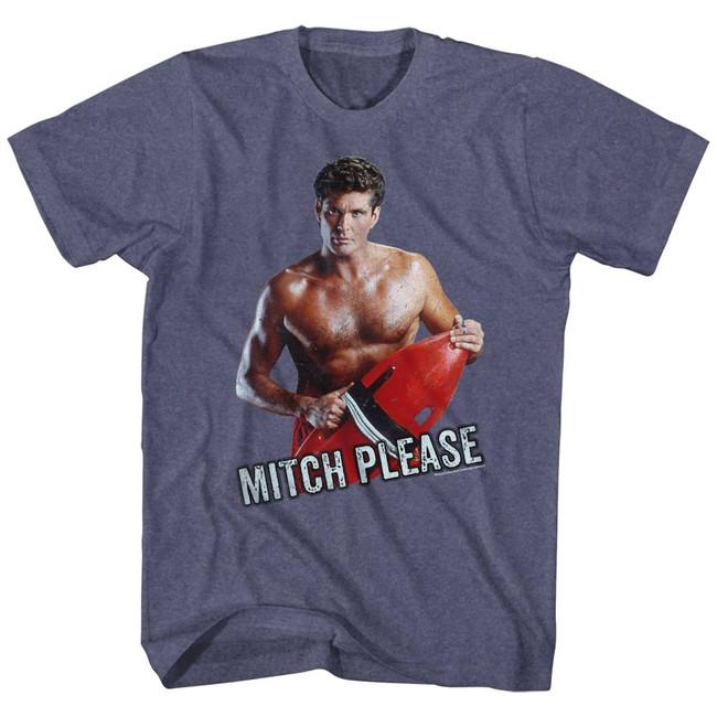Baywatch Mitch Please Vintage Blue Heather Adult T-Shirt