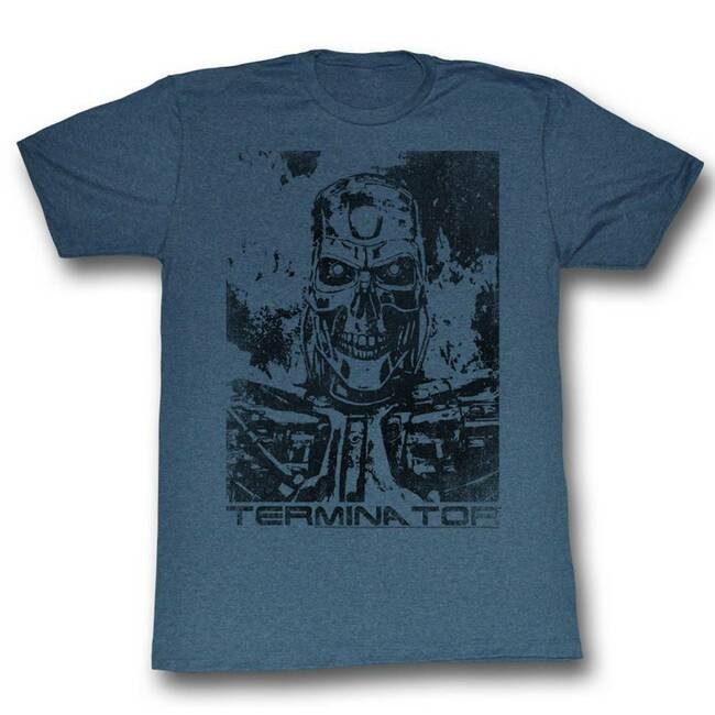 Terminator Black And Blue Navy Heather Adult T-Shirt