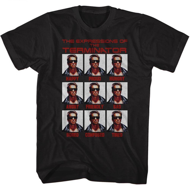 Terminator Expressions Black Adult T-Shirt