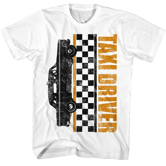 Taxi Driver Taxi Checkers White Adult T-Shirt