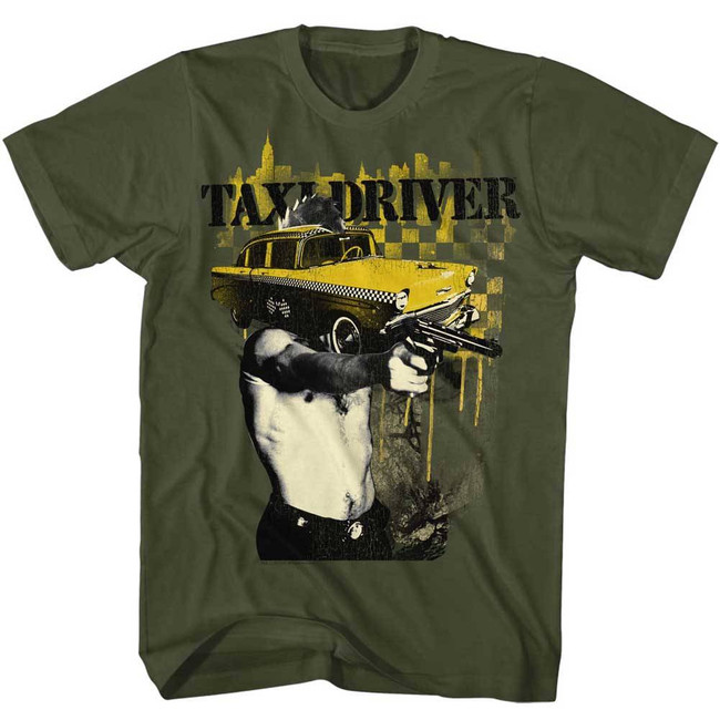 Taxi Driver Taxi Face Military Green Adult T-Shirt