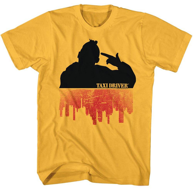 Taxi Driver Silhouette Over City Ginger Adult T-Shirt