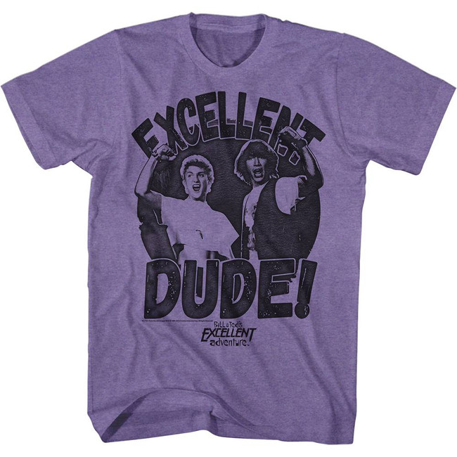 Bill and Ted Excellent Dude Retro Purple Heather Adult T-Shirt