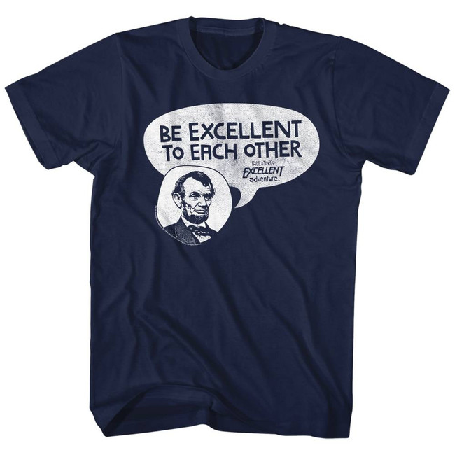 Bill and Ted Excellent Abe Navy Adult T-Shirt