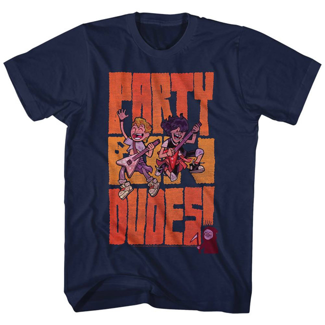 Bill and Ted Party Dudes Navy Adult T-Shirt