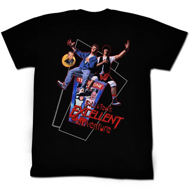 Bill and Ted Flying Black Adult T-Shirt