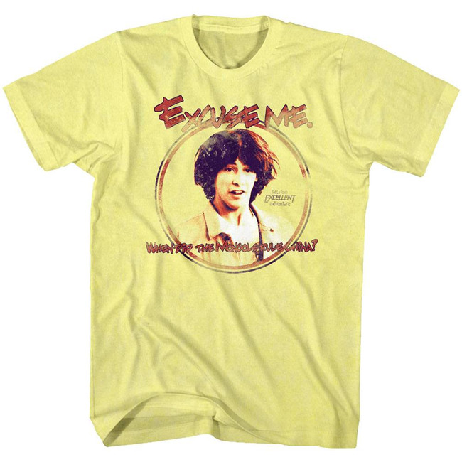 Bill and Ted Excuse Me Yellow Heather Adult T-Shirt
