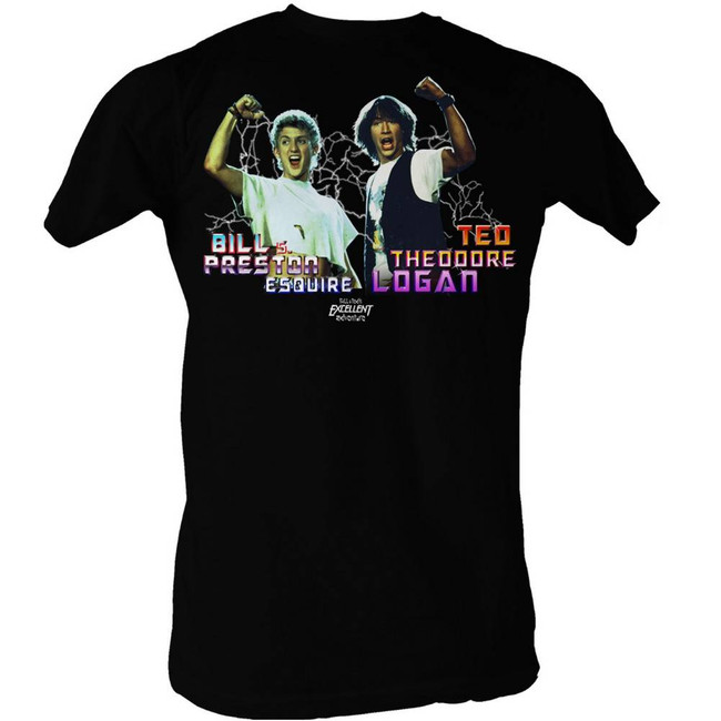 Bill and Ted Light Show Black Adult T-Shirt