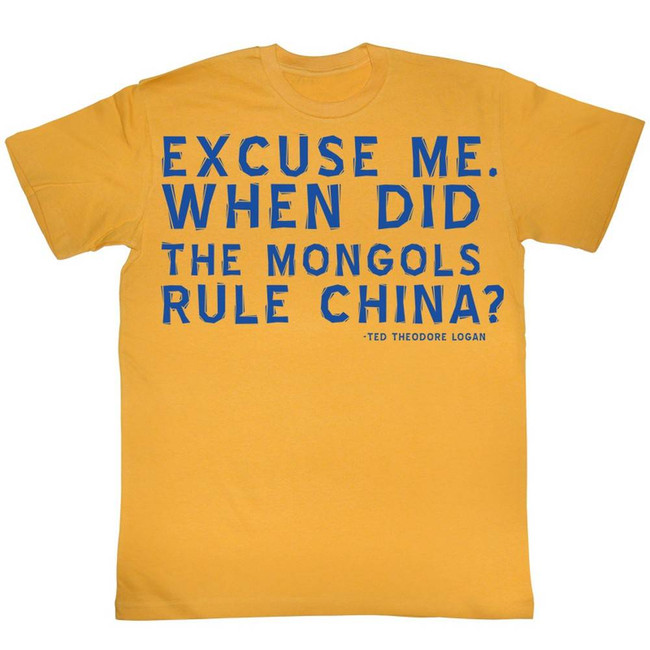 Bill and Ted Excuses Ginger Adult T-Shirt
