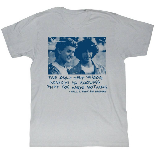 Bill and Ted Knowing Nothing Silver Adult T-Shirt
