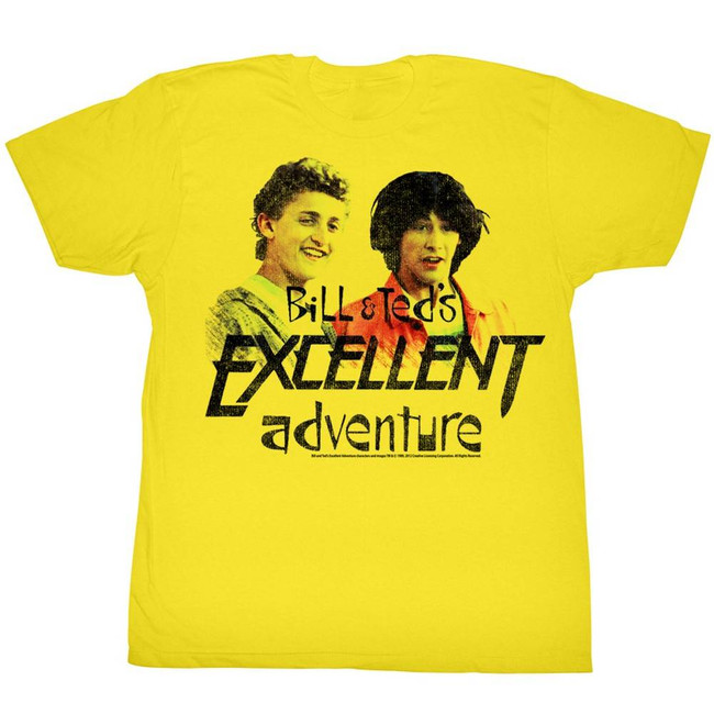 Bill and Ted Dudes Yellow Adult T-Shirt