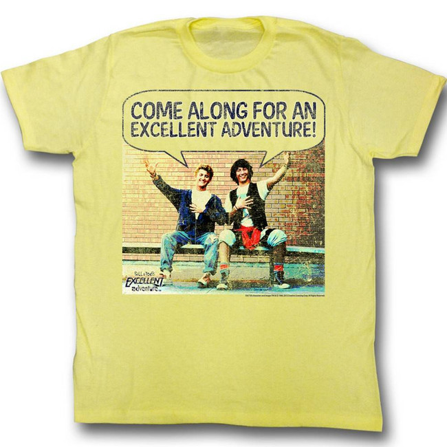 Bill and Ted Come Along Yellow Heather Adult T-Shirt