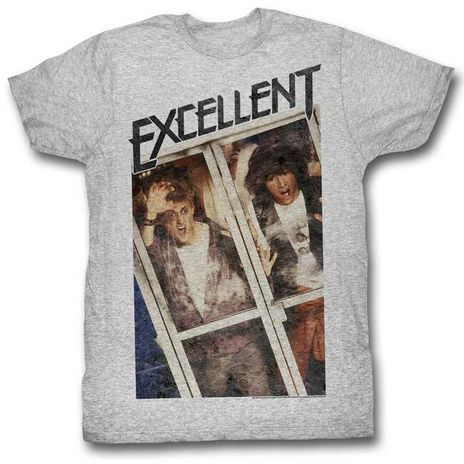 Bill and Ted Excellent Gray Heather Adult T-Shirt