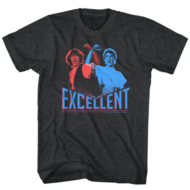Bill and Ted 3D Excellent Black Heather Adult T-Shirt