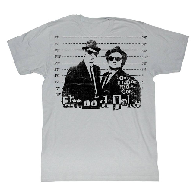 Blues Brothers Mission From God Silver Adult T-Shirt