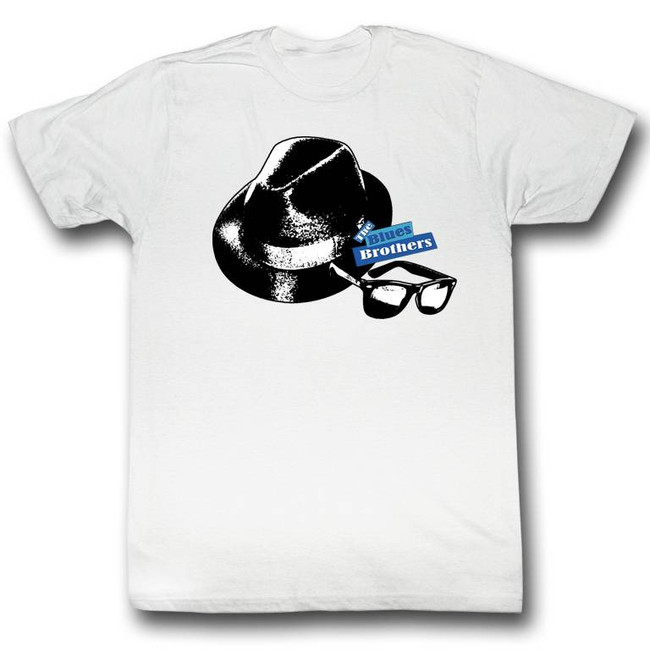 Blues Brothers Hat and Glasses White Adult T-Shirt