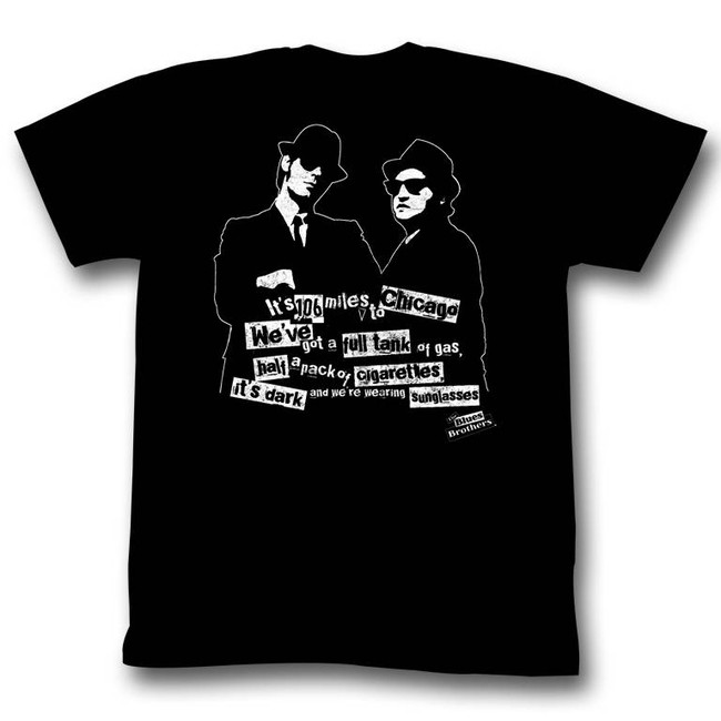 Blues Brothers It's Dark Black Adult T-Shirt